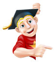 Graduate pointing man in mortar board hat or cap leaning round a sign or banner and at it Stock Images