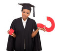 Graduate with question mark african american isolated on white Royalty Free Stock Photo