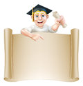 Graduate and scroll banner sign cartoon man in moratar board holding a certificate diploma or other qualification peeping over a Stock Photography