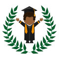 Graduate student gown hat funny emblem Royalty Free Stock Photo