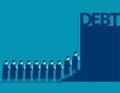 Graduate students walking into debt. Concept business debt illus