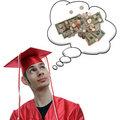 Graduate Thinking About Money Royalty Free Stock Photo