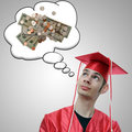 Graduate Thinking About Money Royalty Free Stock Photography