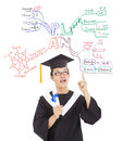 Graduate thinking out his future plan by mind mapping Royalty Free Stock Images