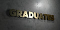 Graduates - Gold text on black background - 3D rendered royalty free stock picture