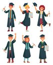 Graduates students. College student in graduation gowns, educated university graduating man and woman characters cartoon