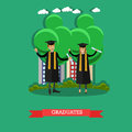 Graduates vector illustration in flat style