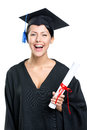 Graduating student with the certificate in academic black gown and square cap isolated on white Royalty Free Stock Photo