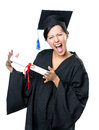 Graduating student with the diploma in academic black gown and square cap isolated on white Royalty Free Stock Images