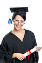 Graduating student in glasses with the diploma and academic gown isolated on white Stock Image