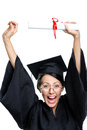 Graduating student puts the diploma over the head in glasses and black academic robe isolated on white Royalty Free Stock Photography