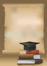 Graduation background with books and mortarboard cap symbolizing education and illustration Royalty Free Stock Photography