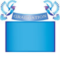 Graduation banner with doves and mortars Stock Photography