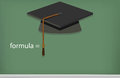 Graduation cap black mortarboard on board illustration of Royalty Free Stock Images
