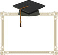 Graduation cap black mortarboard on diploma illustration of Royalty Free Stock Photo