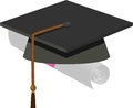 Graduation cap black mortarboard illustration of Royalty Free Stock Images