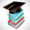 Graduation cap and books Stock Images