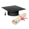 Graduation cap and diploma Stock Photo