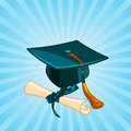 Graduation cap and diploma radial background Stock Photo