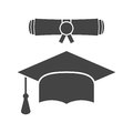 Graduation cap and diploma scroll icon vector illustration in fl Royalty Free Stock Photo