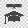 Graduation cap and diploma scroll icon vector illustration in fl