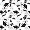 Graduation cap and diploma scroll seamless background. Higher education celebration anniversary symbol pattern. Black Royalty Free Stock Photo