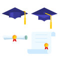 Graduation cap and diploma scroll vector icon.