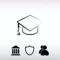 Graduation cap icon, vector illustration. Flat design style