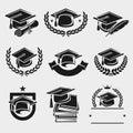 Graduation cap labels set. Vector Royalty Free Stock Photo