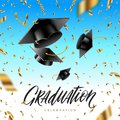 Graduation cap thrown up and golden foil confetti on a blue sky background. Royalty Free Stock Photo