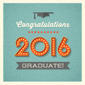 Graduation card with marquee lighted numbers retro design vintage Stock Photography