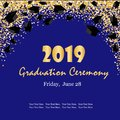 Graduation ceremony banner with graduate caps, glitter dots on a dark blue background. Congratulation graduates 2019