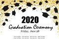 Graduation Class Ceremony of 2020 greeting cards set with gold confetti. Vector grad party invitation poster