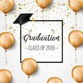 Graduation class of 2018. Congratulations graduates. Academic hats, confetti and balloons. Celebration. .