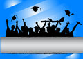 Graduation day celebration background illustration of a group of graduates tossing their caps in of Stock Image