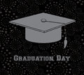 Graduation day over black background illustration Royalty Free Stock Image