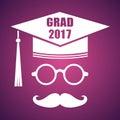 Graduation design with hut and text Congrats Grad. Vector congra