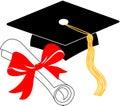 Graduation diploma and cap/eps