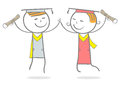 Graduation doodle stick figure joy teenagers after Stock Photo