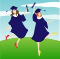 Graduation girl jump to the air Stock Image