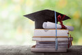 Graduation hat with degree paper on a stack of book Royalty Free Stock Photo