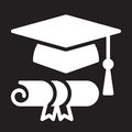 Graduation hat and diploma icon, vector illustration.