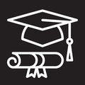 Graduation hat and diploma line icon, white outline sign, vector illustration