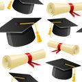 Graduation Hat and Diploma Seamless