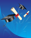 Graduation hats in the air and certificates flying background Royalty Free Stock Photography
