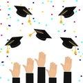 Graduation hats, hands, air 2