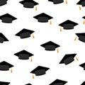 Graduation hats. Seamless pattern. White background. Vector