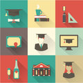 Graduation icons vector set this is file of eps format Stock Images