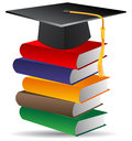 Graduation illustration of cap and books Stock Images