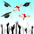 Graduation illustration of with cap and hands Stock Photo
